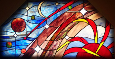 Stained glass, celestial sky