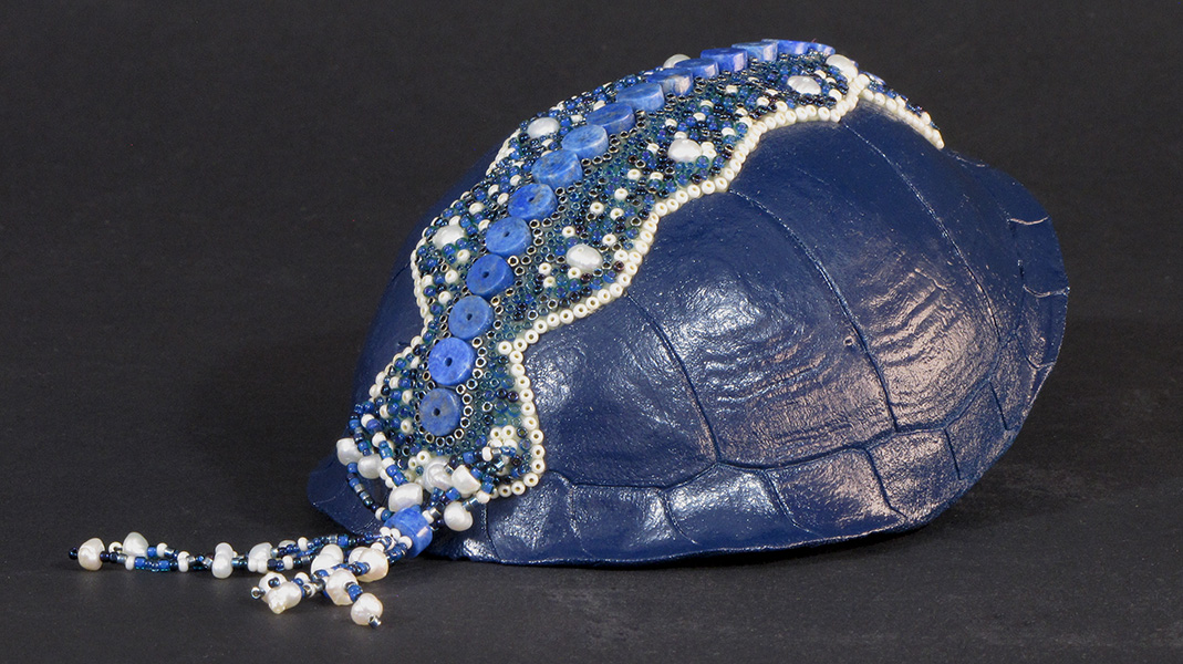 Huichol-inspired beaded turtle shell