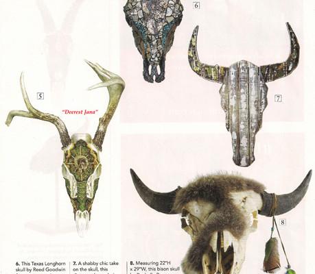 "Suzanne Schmaltz, Huichol-inspired beaded skulls ""Deerest Jana"", Phoenix Home and Gardens magazine, Trend Watch, January 2014"