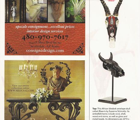 "Suzanne Schmaltz, Huichol-inspired beaded skulls ""Blaze"", Phoenix Home and Gardens magazine, Trend Watch, January 2014"