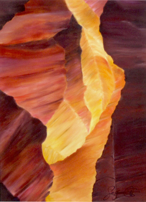 Pastel painting, Antelope Slot Canyon, Page, Arizona