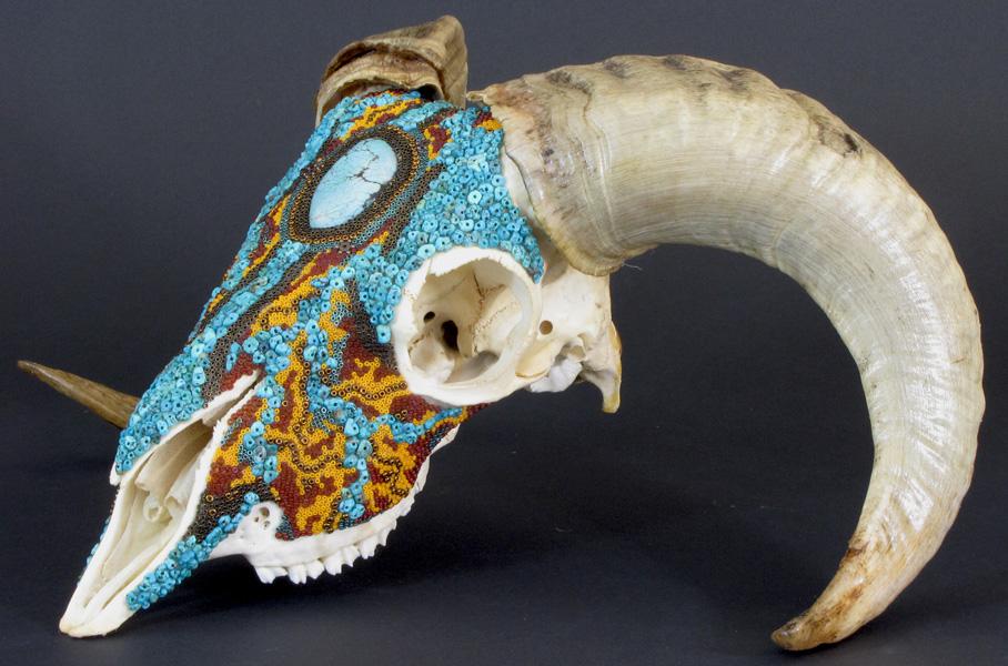 Beaded ram skull, Huichol-inspired beaded skull