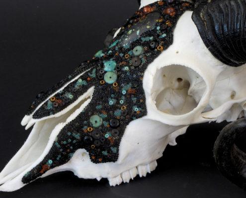 Huichol beaded ram skull, ram skull, beaded skull