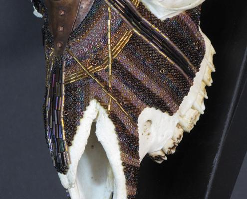 Huichol beaded skull, ram skull, beaded skull