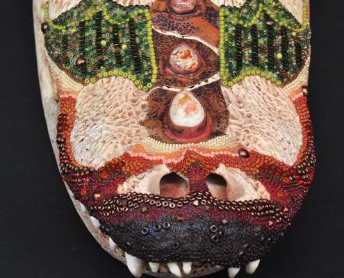 Beaded Alligator Skull