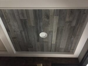 Aged gray pallet ceiling