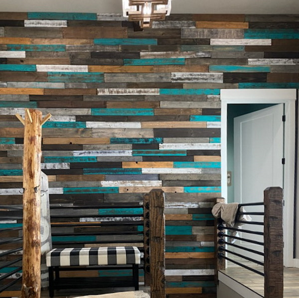 Rustic turquoise pallet wall