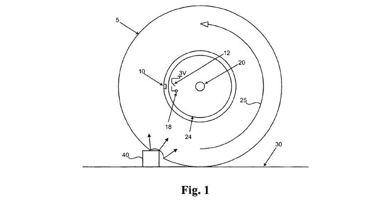 Electronic Hubodometer Patent 6940940