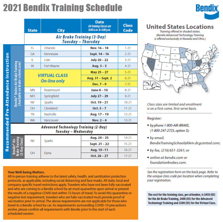 Bendix Training Schedule