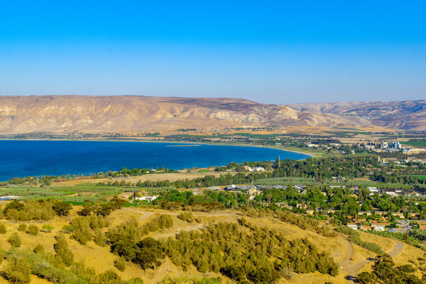 View of the southern part of the Sea of Galilee (the Kinneret lake), and nearby villages, in northern Israel
