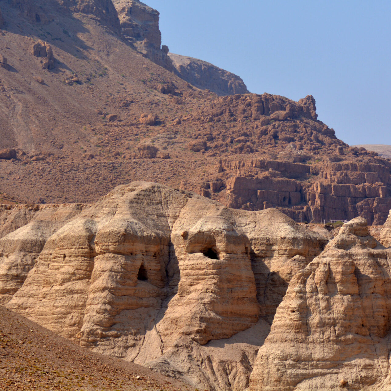 Qumran caves in Qumran National Park near the Dead Sea Israel where the Dead Sea Scrolls discovered between 1946 and 1956.