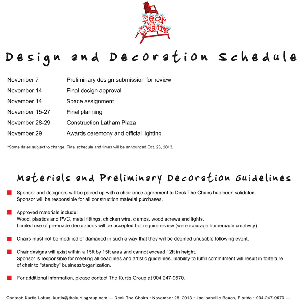 2013 Deck The Chairs^Preliminary Schedule