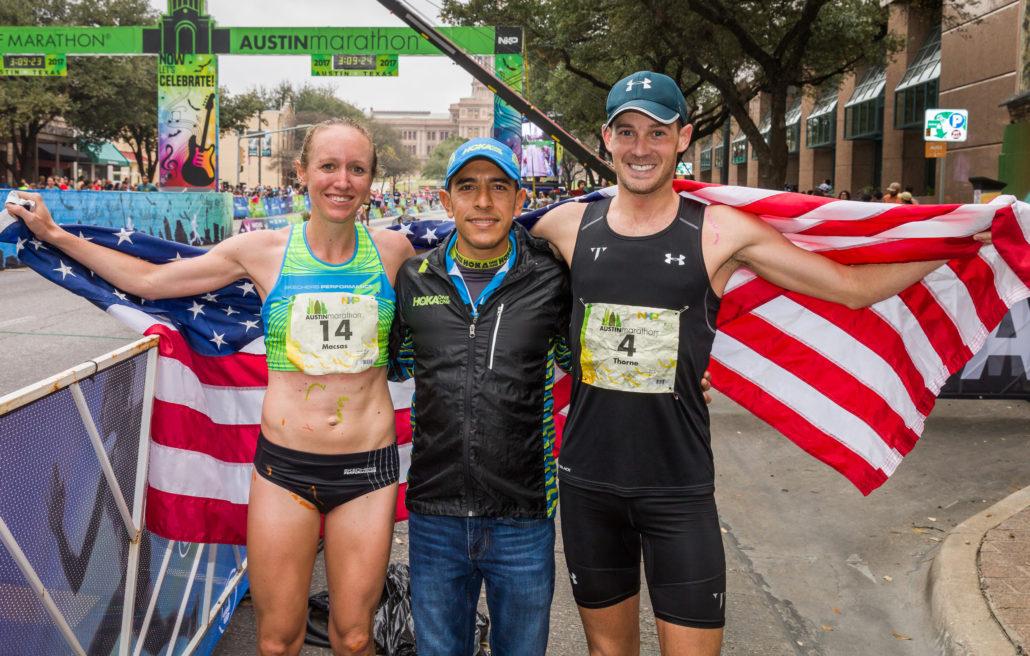 Image of Leo Manzano, Race Ambassador, with 2017 Austin Marathon champs Allison Macsas and Joe Thorne