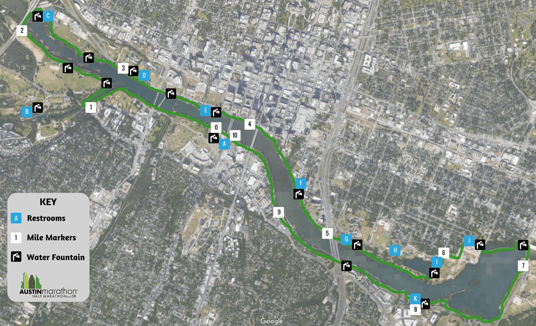 Austin Marathon Map of Austin Town Lake Trail Restrooms Water Fountains