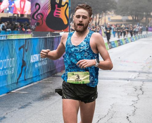 Daniel Bishop finishes 3rd overall at the 2018 Austin Marathon.