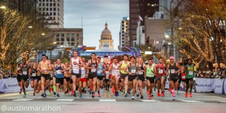 Runners take off at the start of the 2019 Ascension Seton Austin Marathon. Austin's flagship running event contributed $48.5 million to the Austin economy.