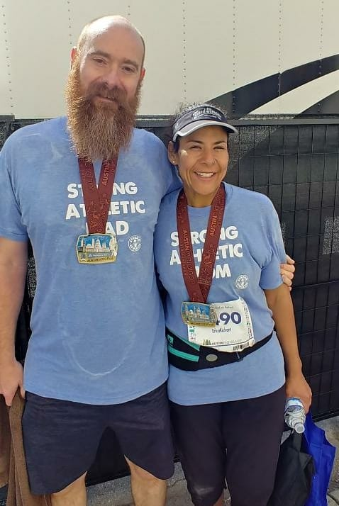 Erica Richart and her husband after she made a change to better her life through running.