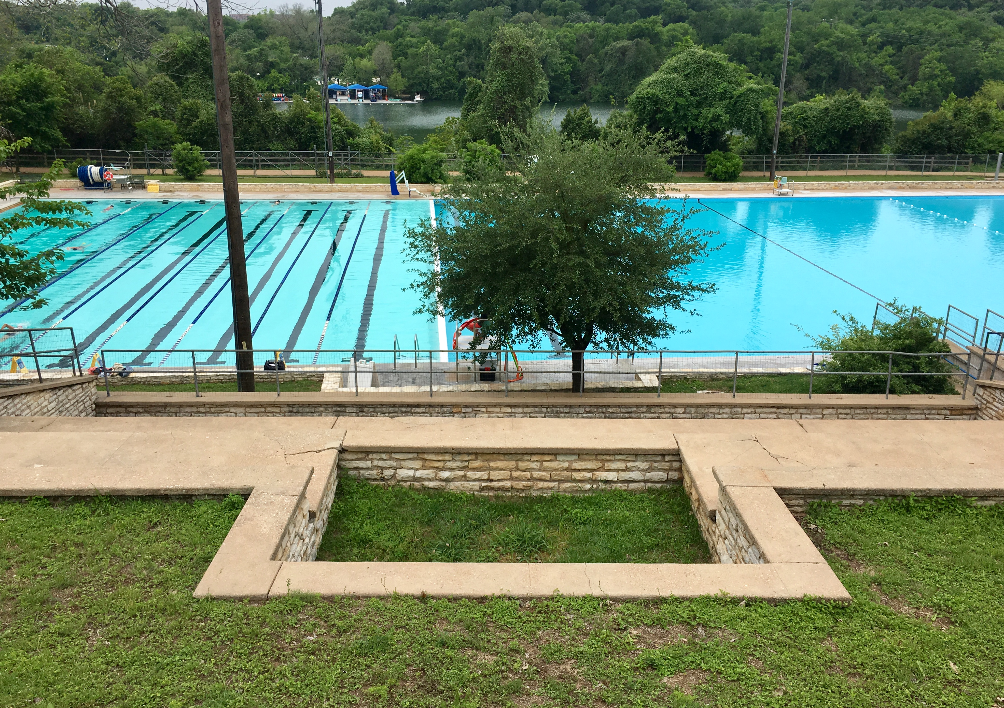 View of Deep Eddy Pool, located near Miles 6-13 of the Austin Marathon course.