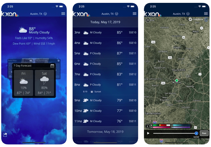 Screenshots of the KXAN Weather app, which runners should check before running in the rain.
