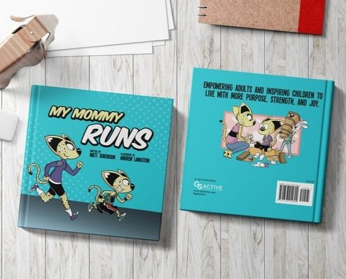 My Mommy Runs, a children's book about running, is displayed on a table.