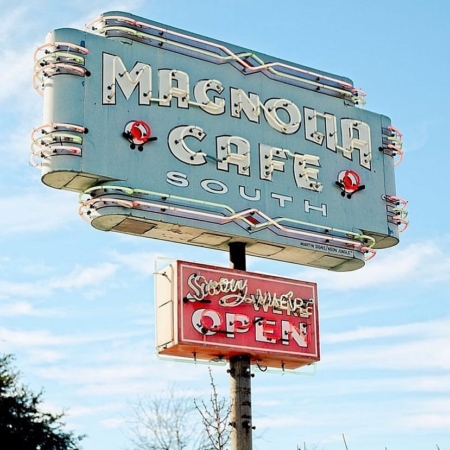 Image of Magnolia South's sign, a great spot to get breakfast in south Austin.