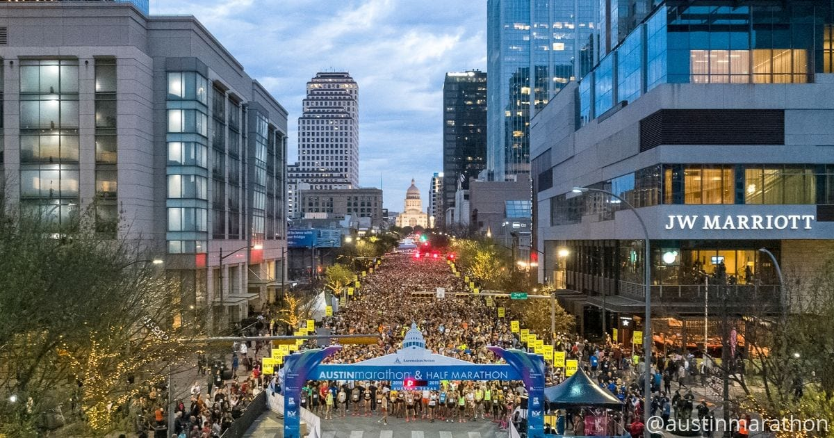 Birds eye view of the 2019 Austin Marathon start line from a drone. Brands can partner with this world-class event with their official sponsorship.