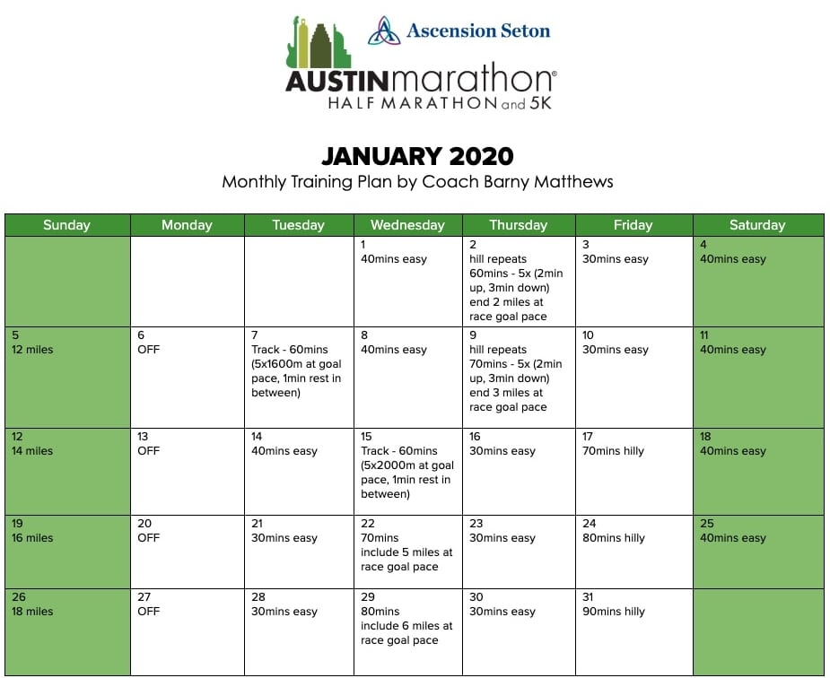 "Free marathon training plan for the month of January, designed by Paul ""Barny"" Matthews for the 2020 Austin Marathon."