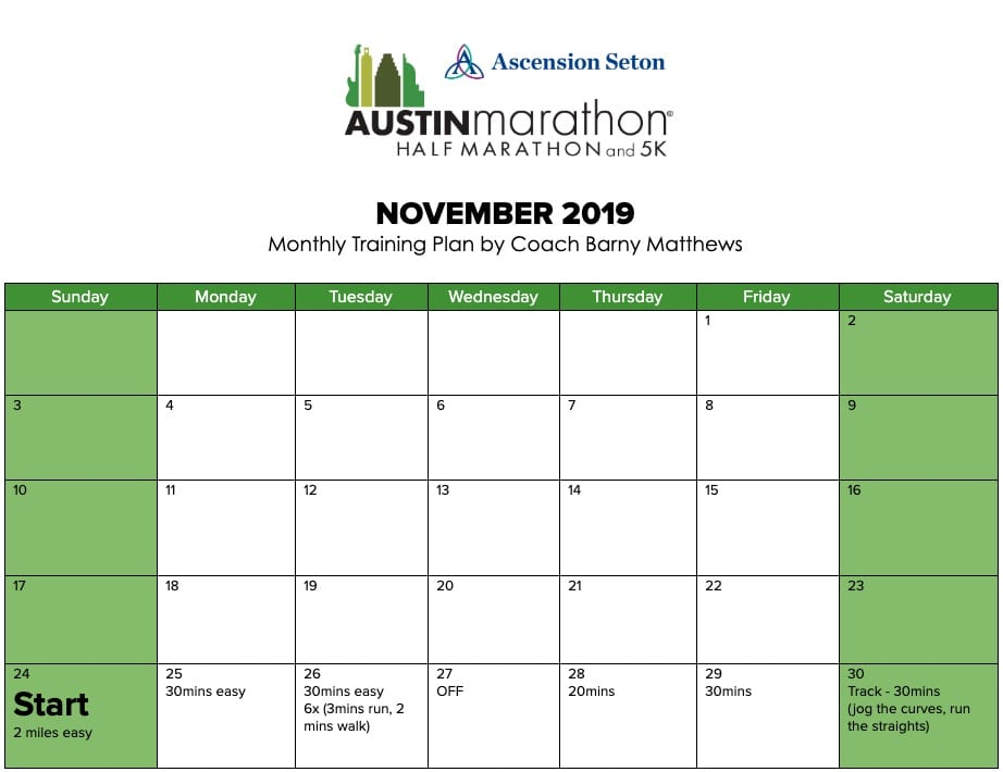 "Free marathon training plan for the month of November, designed by Paul ""Barny"" Matthews for the 2020 Austin Marathon."