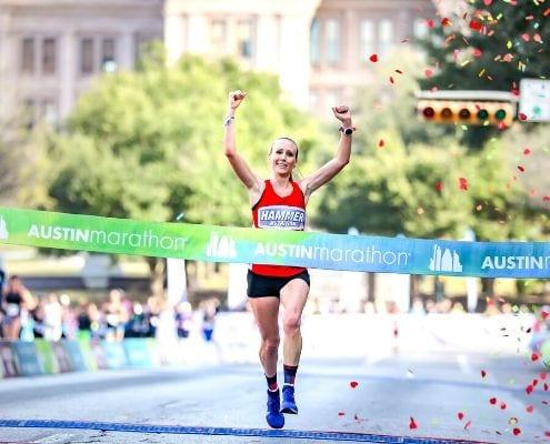 Image of 2019 Austin Marathon female champ, Heather Lieberg. She will race the 2020 Austin Half Marathon as her final Olympic Marathon Trials tune-up.