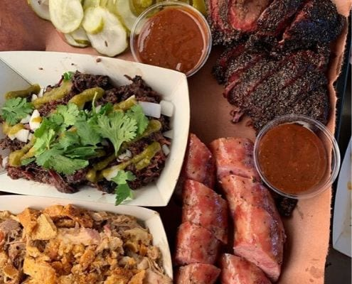 Spread of barbecue at LeRoy and Lewis, one of our favorite south Austin lunch spots along the Austin Marathon course.