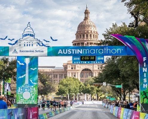 Image of the 2019 Ascension Seton Austin Marathon finish line. The Austin Marathon introduced The Moody Foundation as presenting sponsor of Austin Gives Miles.