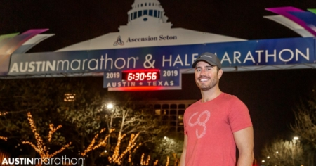 Image of a Camp Gladiator trainer smiling for the camera before the 2019 Austin Marathon. CG returns as the 2020 Austin Marathon's Official Community Fitness Partner.