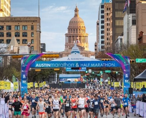 Image of the start of the 2019 Austin Marathon 5K benefitting Paramount Theatre. The 2020 Austin Marathon KXAN Simple Health 5K benefitting Paramount Theatre is part of an unforgettable Austin Marathon weekend.