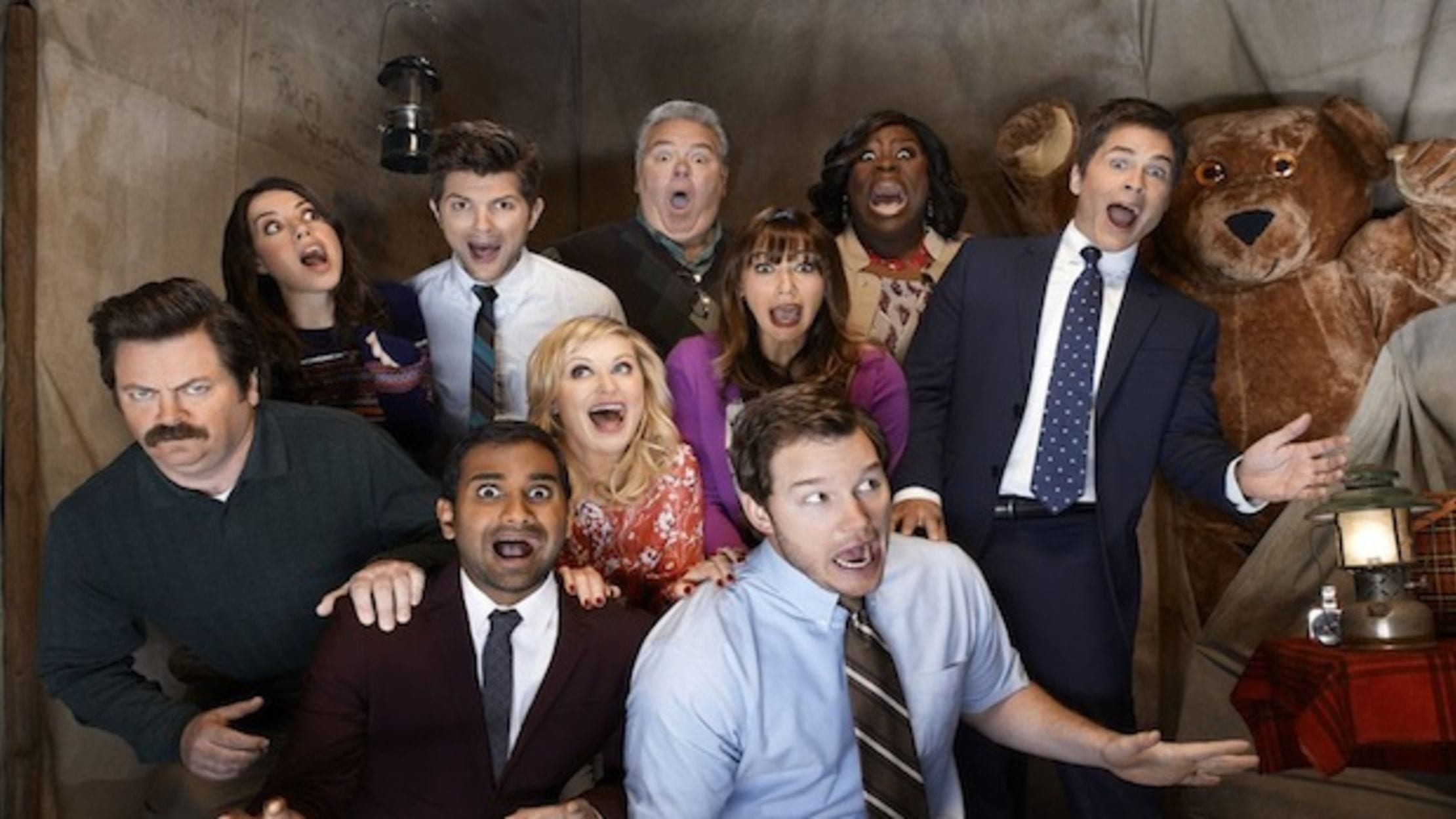 Image of Parks and Recreation promotional material. Parks and Recreation is on the High Five Events binge-worthy show recommendation list.