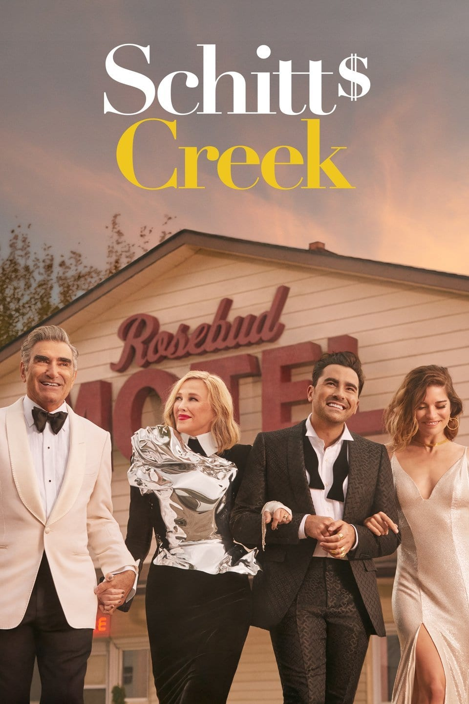 Image of Schitt's Creek promotional material. Schitt's Creek is on the High Five Events binge-worthy show recommendation list.