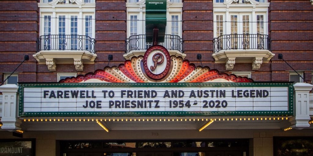 Image of Paramount Theatre marquee saying farewell to Joe Priesnitz. Courtesy of Bells and Whistles.