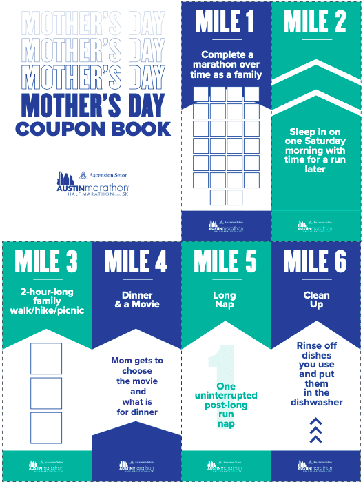 Screenshot of the Austin Marathon's Mother's Day coupon book. Click to download the free coupon book for your mom!
