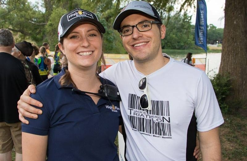Image of Tina Teich and her husband, Alex, at 2017 Kerrville Triathlon. Image of John Chung at Rookie Triathlon. Read this blog to meet High Five Events.
