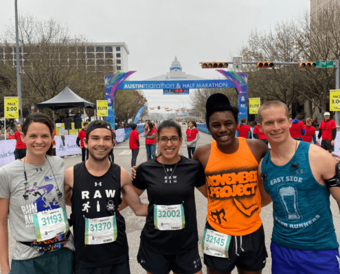 Image of a group of five runners representing different Austin running groups before the 2020 Ascension Seton Austin Marathon. Registration for the 30th annual Austin Marathon opens on June 1st.