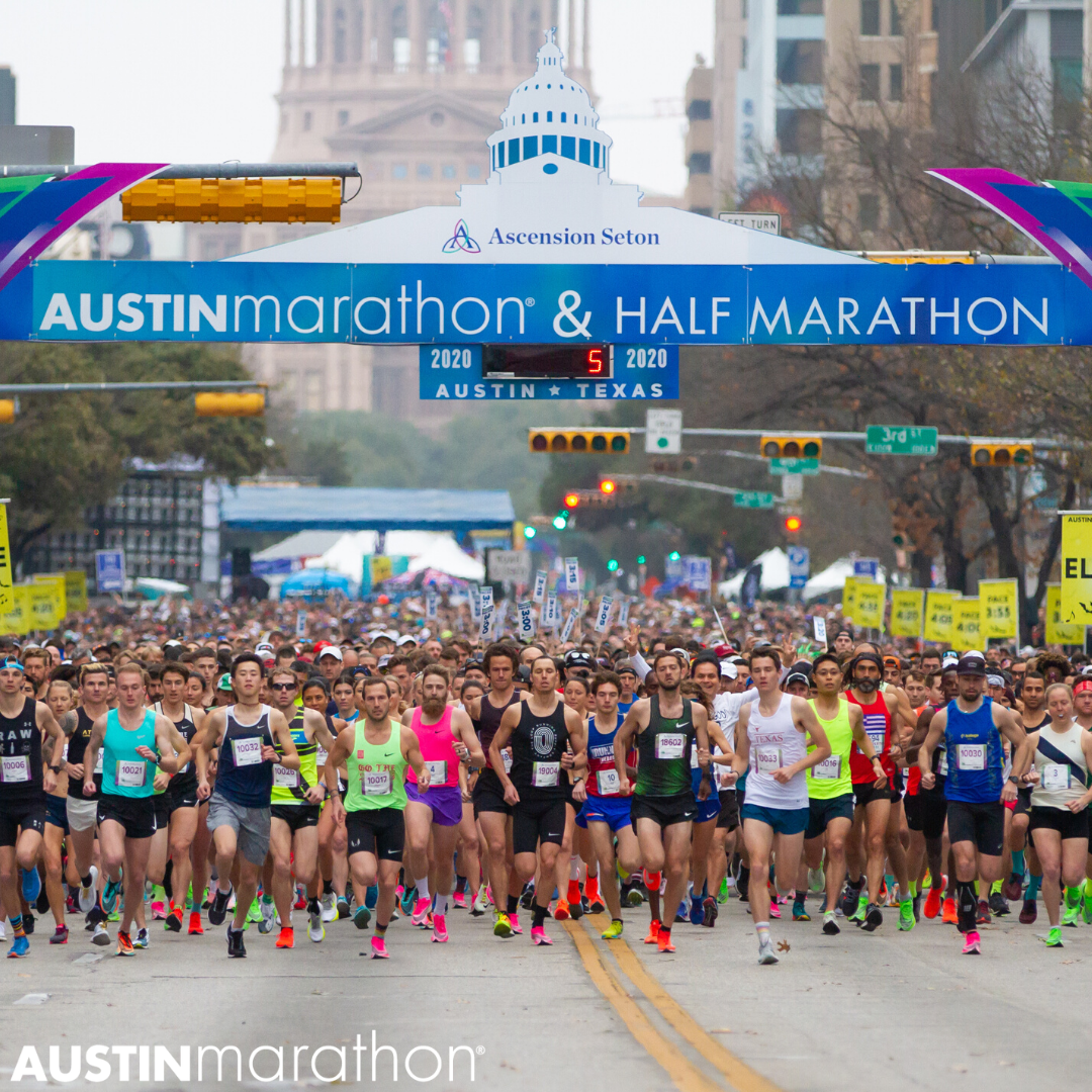 Image of the start of the 2020 Ascension Seton Austin Marathon. Registration for the 30th annual Austin Marathon opens on June 1st.