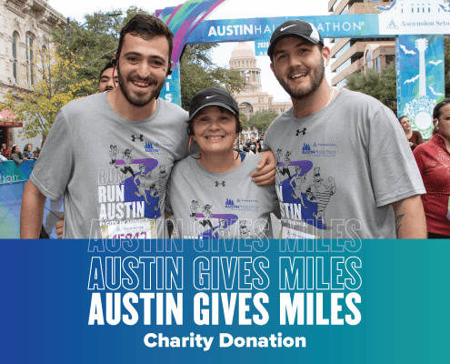 Image of three finishers during 2020 Austin Marathon weekend. 2020 Austin Gives Miles presented by The Moody Foundation raised $702,500 for 25 different Central Texas charities.