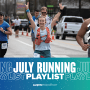 Image of a female runner at the 2020 Ascension Seton Austin Marathon with text reading July Running Playlist.