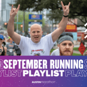 Image of male runner showing the Longhorn signal with both hands during the 2020 Ascension Seton Austin Marathon. Design features text that reads September Running Playlist.