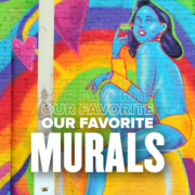 Image of a vibrantly colored Austin mural of a blue female genie drinking a martini. This blog showcases some of the Austin Marathon's favorite on-course murals.