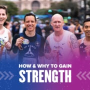 Image of four friends holding their finisher medals after the 2020 Ascension Seton Austin Marathon. Design on the image contains text that reads How and Why to Gain Strength.