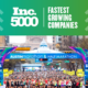 Image of the 2020 Ascension Seton Austin Marathon start line full of runners. The text on the design with the image announces that High Five Events ranked 1853 on the 2020 Inc 5000 list.