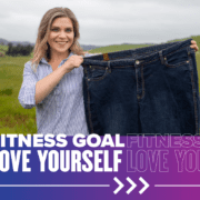 Kiah Twisselman holds an old pair of jeans next to her, showcasing that she's lost 125 since she began her journey towards a healthier lifestyle. She will continue to make the impossible possible at the 30th annual Austin Marathon on February 14, 2021. Read more about her story at https://youraustinmarathon.com/make-the-impossible-possible