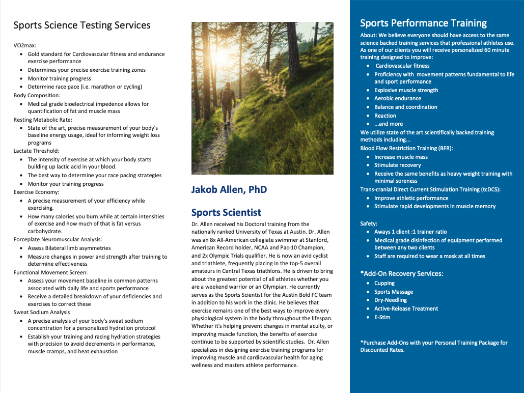 Image of Ascension Seton Sports Performance brochure. It breaks down all of their services and ways that can help you get better as a runner. Click on image to open the PDF version of the brochure.