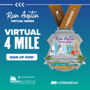 The Round the River 4-Miler digital medal that showcase the Austin skyline and the Run Austin Virtual Series logo. Learn more and sign up at https://youraustinmarathon.com/round-the-river-4-miler/