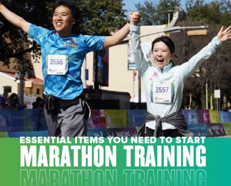Couple raises hands in the air while crossing the 2020 Ascension Seton Austin Marathon finish line. Text in design reads Essential Items You Need to Start Marathon Training. Learn more at https://youraustinmarathon.com/items-to-start-marathon-training